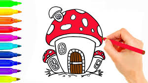 how to draw mushroom house coloring pages for kids colouring