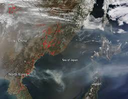 Wildfire Air Pollution Map by Air Quality Suffering In China Nasa