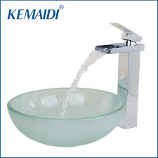 Vessel Sink Waterfall Faucet Aliexpress Com Buy Kemaidi Thickness Frost Round Basin Round