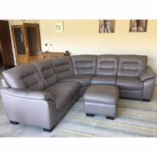 Dfs Recliner Sofa by Dfs Ripple Granite Leather Corner Sofa And Storage Pouffe In