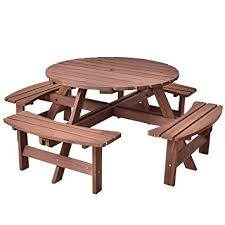amazon com giantex 8 person round picnic table set outdoor pub