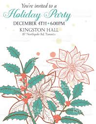botanical christmas plants background party invitation stock