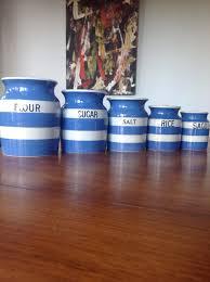 tg green cornishware rare canister set 1930s vintage blue tg green cornishware rare canister set 1930s vintage blue white stripe shabby chic