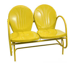 Old Fashioned Metal Outdoor Chairs by Amazon Com Rich Pacific Sunshine Yellow Retro Metal Tulip Double