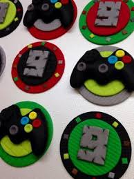 xbox video game fondant cupcake toppers mine craft inspired