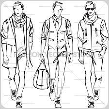 3 male fashion models fashion vector stock