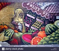 Girls Graffiti Bedroom Graffiti On A Brick Wall Of Fruits U0026 Vegetables And A Dark Skinned
