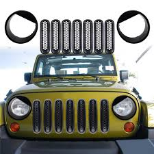 jeep wrangler front grill front grill mesh grille insert kit u0026 frone light bezels headlight