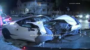 ferrari 458 italia hits building totaled after street race crash
