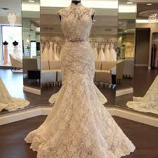 retro wedding dresses high neck mermaid lace retro wedding dress 2017 crystals belt sash
