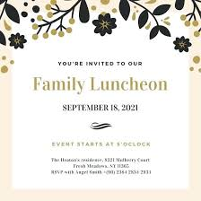 brunch invitation template lunch invitation template with black gold simple luncheon