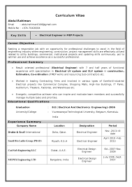 Objective For Electrical Engineer Resume Electrical Engineer Resume