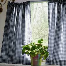 Thermal Cafe Curtains Navy Blue Gingham Kitchen Café Curtain Unlined Or With White Or