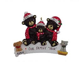 2017 snow family of 3 personalized ornament with 2 dogs snow