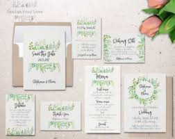 wedding invitation set green wedding invitation set printable wedding invitation