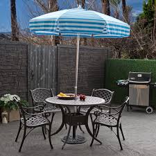 Blue And White Striped Patio Umbrella Wondrous Outdoor Exterior Design With Metal Blue Cushioned Chairs