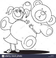 cartoon illustration of with big teddy bear for coloring book