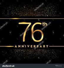 Black Invitation Card Seventy Six Years Anniversary Celebration Logotype 76th