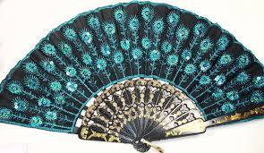 Silk Peacock Home Decor Amazon Com Peacock Pattern Sequin Fabric Hand Fan Decorative
