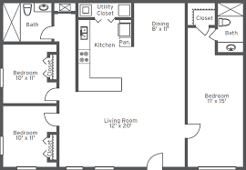 3 bedroom house plan with measurement design a house 2 bedroom