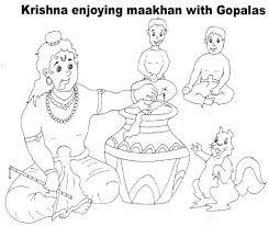 shri krishna janmashtami coloring 9 kids