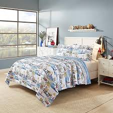 3pc white red blue palm tree quilt full queen set cotton
