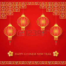Lunar New Year Decoration Vector by Chinese New Year Decoration On Red And Gold With Cherry Blossom