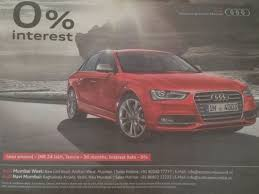 audi car loan interest rate audi a4 now available at zero per cent interest find