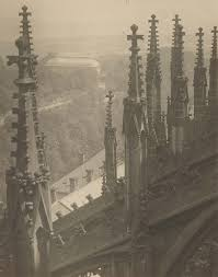 view from above the pinnacles and flying buttresses of the