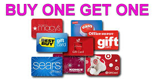 gift cards deals list of buy one get one gift card deals 70 free gift