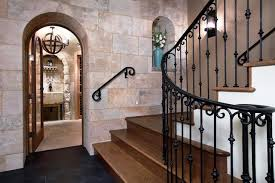 Metal Banisters Wrought Iron Balusters Staircase Mediterranean With Arched Doorway