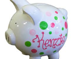 customized piggy bank baby green piggy bank etsy