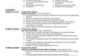 Construction Laborer Resume Examples And Samples by Contractor Work Resume Reentrycorps