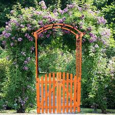 wooden rose arch with door gate pergola archway trellis flower