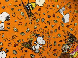 peanuts charlie brown snoopy autumn fall fabric leaves fabric