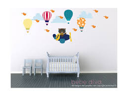 scorching air balloon wall decals inform table bear and hot air balloon wall decals bebe diva