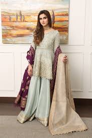 bridal wear bridal dresses blue peplum sharara