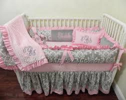 Pink And Black Crib Bedding Sets Damask Crib Bedding Etsy
