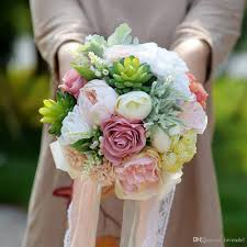 wedding flowers for bridesmaids 2018 succulent plants bouquet chic wedding flowers artificial silk