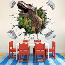 3d broken wall generic dinosaur forest wild animal decal wall see larger image