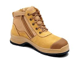 womens work boots australia s or s wheat nubuck leather ankle high steel toe cap