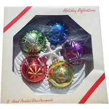 Glass Christmas Ornament Sets - hand painted glass christmas ornament set sold on ruby lane