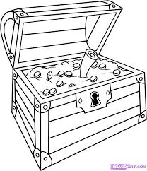 treasure chest coloring printable draw treasure