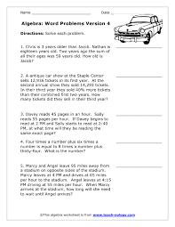 algebra word problem worksheets worksheets