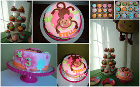 pink monkey love cake and cupcakes the cake