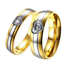couples wedding rings aliexpress buy 1 pair gold color couples wedding rings for
