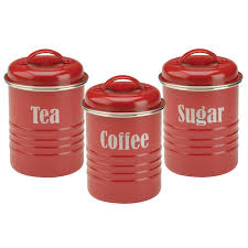 Red Kitchen Canisters Sets Tea Coffee Sugar Canister Set Red Vintage Style Kitchen Jars