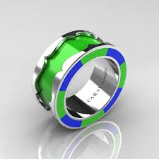 green wedding rings caravaggio 14k white gold lime green and blue italian enamel