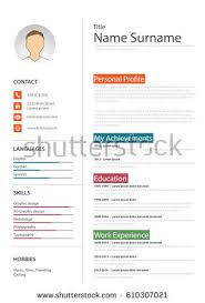 professional resume cv colored bookmarks template stock vector