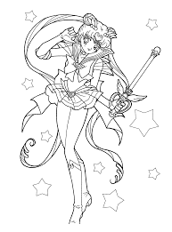 sailor moon coloring pages front kiddypicts with the little